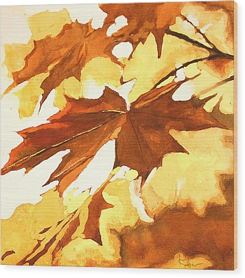 Wood Print featuring the painting Autumn Greeting by Rachel Hames