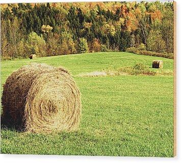 Autumn Hay Bales  Wood Print