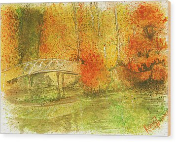 Autumn Landscape Painting  Wood Print by Remy Francis
