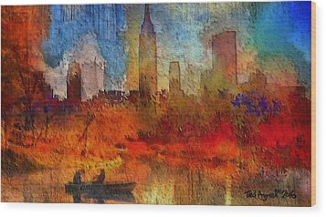 Autumn In New York Wood Print by Ted Azriel