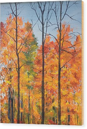Wood Print featuring the painting Autumn In South Wales Ny by Ellen Canfield