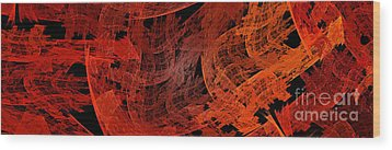 Wood Print featuring the digital art Autumn In Space Abstract Pano 1 by Andee Design