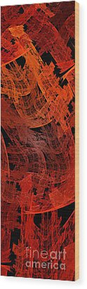 Wood Print featuring the digital art Autumn In Space Abstract Pano 2 by Andee Design