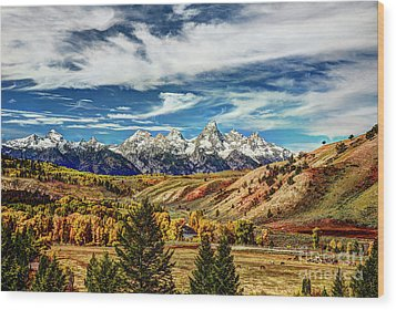 Autumn In The Tetons Wood Print by Jean Hutchison