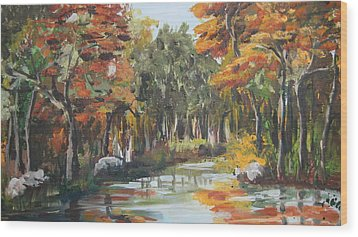 Autumn In The Woods Wood Print by Mabel Moyano
