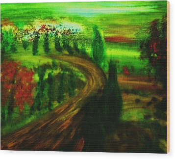 Wood Print featuring the painting Autumn In Tuscany by Evelina Popilian