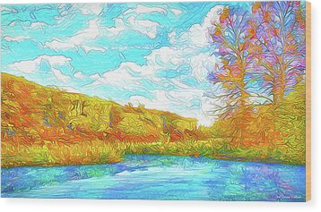 Autumn Lake Reflections - Park In Boulder County Colorado Wood Print