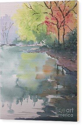 Autumn Lake Wood Print by Yohana Knobloch