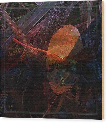 Wood Print featuring the digital art Autumn Leaf by Stuart Turnbull