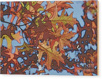 Autumn Leaves 17 - Variation  2 Wood Print by Jean Bernard Roussilhe