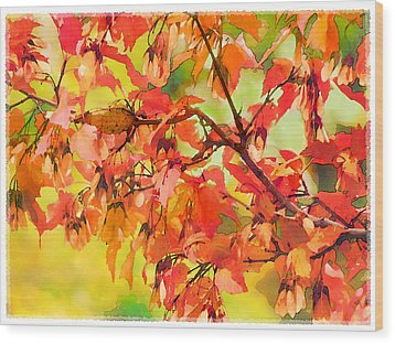 Wood Print featuring the digital art Autumn Leaves by Christina Lihani