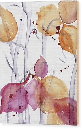Wood Print featuring the painting Autumn Leaves by Dawn Derman