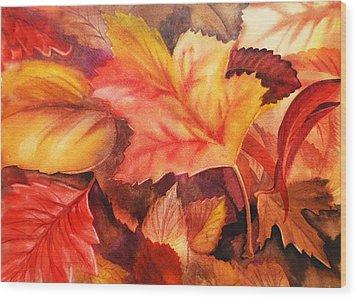 Autumn Leaves Wood Print by Irina Sztukowski