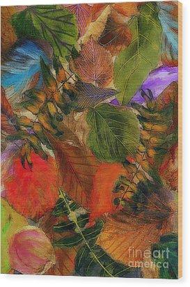 Wood Print featuring the digital art Autumn Leaves by Klara Acel