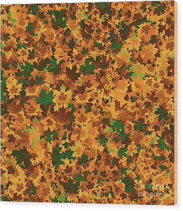 Wood Print featuring the digital art Autumn Leaves Pattern by Methune Hively