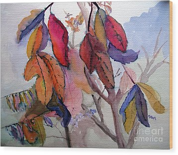 Autumn Leaves Wood Print by Sandy McIntire