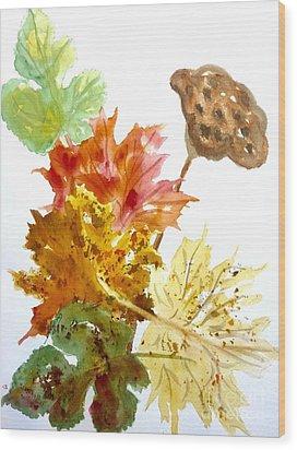 Autumn Leaves Still Life Wood Print by Ellen Levinson