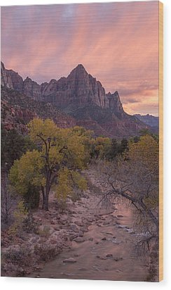 Wood Print featuring the photograph Autumn Light Over The Watchman by Patricia Davidson