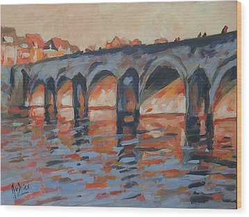 Autumn Light Through The Saint Servaas Bridge Maastricht Wood Print