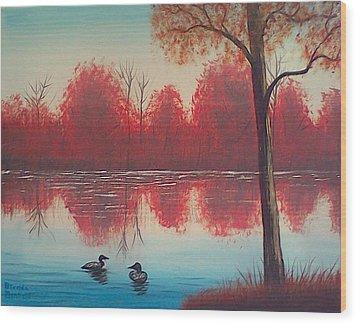 Autumn Loons Wood Print by Brenda Bonfield