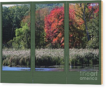 Wood Print featuring the photograph Autumn Marsh Through A Window by Smilin Eyes  Treasures