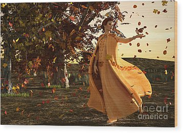 Wood Print featuring the digital art Autumn by Methune Hively