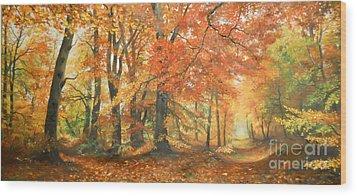 Autumn Mirage Wood Print