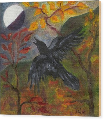 Autumn Moon Raven Wood Print by FT McKinstry