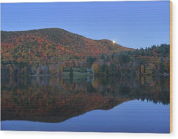 Autumn Moonrise In The Green Mountains Wood Print by John Burk