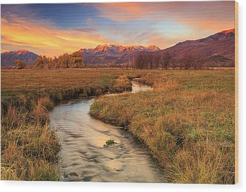 Autumn Morning In Heber Valley. Wood Print