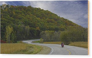 Autumn Motorcycle Rider / Red Wood Print