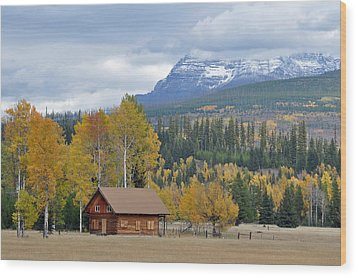 Autumn Mountain Cabin In Glacier Park Wood Print by Bruce Gourley