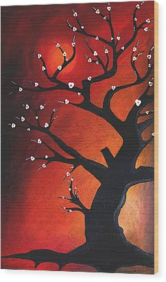 Autumn Nights - Abstract Tree Art By Fidostudio Wood Print by Tom Fedro - Fidostudio