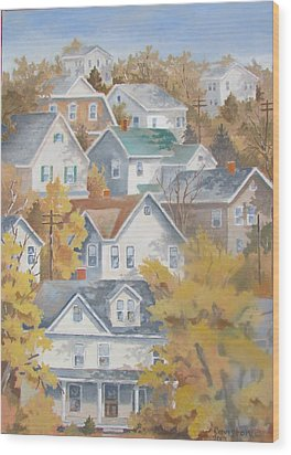 Wood Print featuring the painting Autumn On The Hill by Tony Caviston