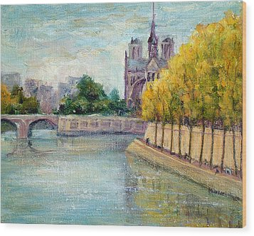 Autumn On The Seine Wood Print