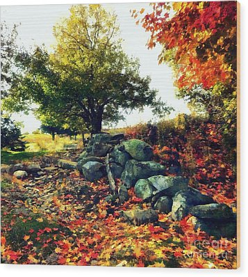 Wood Print featuring the painting Autumn Orchard by Janine Riley