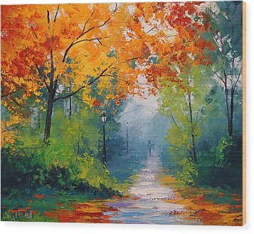 Autumn Park Wood Print by Graham Gercken