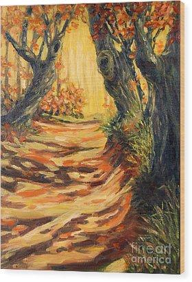 Autumn Pathways Wood Print