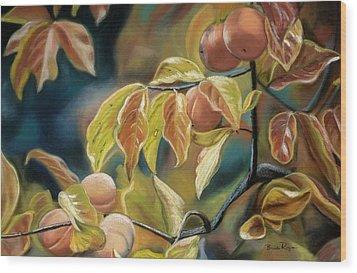 Autumn Peaches Wood Print by Brenda Williams