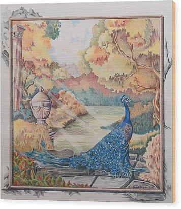 Autumn Peacock Wood Print by Joyce Hutchinson