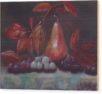Autumn Pear With Grapes Wood Print