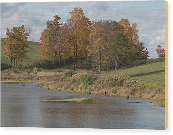 Wood Print featuring the photograph Autumn Pond by Joshua House