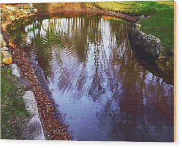 Autumn Reflection Pond Wood Print