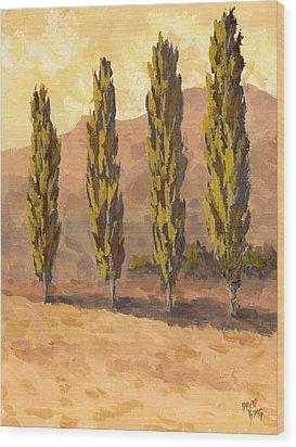 Autumn Poplars Wood Print