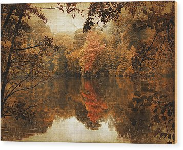 Autumn Reflected Wood Print by Jessica Jenney