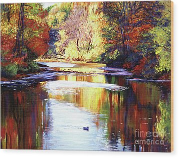 Autumn Reflections Wood Print by David Lloyd Glover