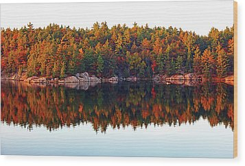 Wood Print featuring the photograph   Autumn Reflections by Debbie Oppermann