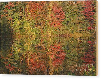 Wood Print featuring the photograph Autumn Reflections In A Pond by Smilin Eyes  Treasures