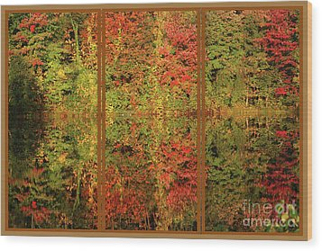 Wood Print featuring the photograph Autumn Reflections In A Window by Smilin Eyes  Treasures