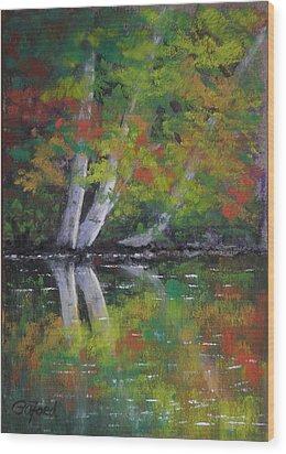 Autumn Reflections Wood Print by Paula Ann Ford